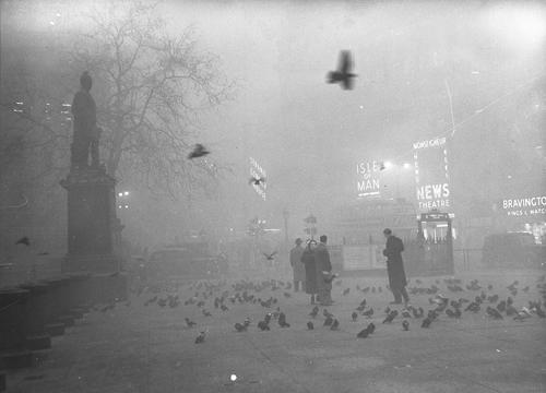 Quảng trường Trafalgar ngày 5/12/1952. Ảnh: Topham PicturePoint