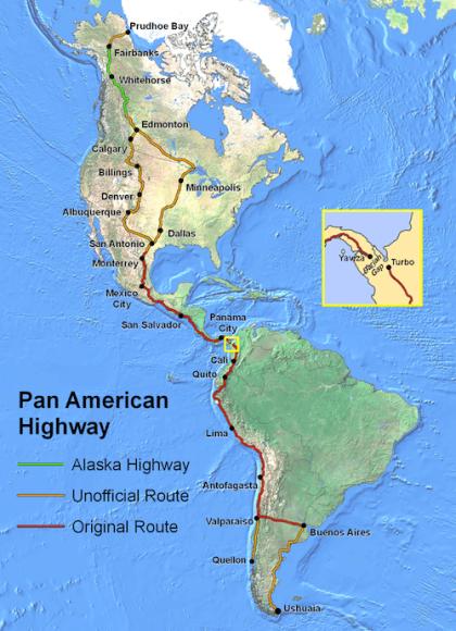 Lộ trình của Pan American Highway - Đường cao tốc dài nhất thế giới. Ảnh: Brilliant maps.