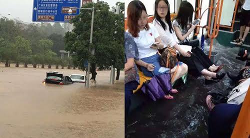 Ngập lụt nặng xảy ra ở Quảng Châu, Trung Quốc. Ảnh: shanghaiist.