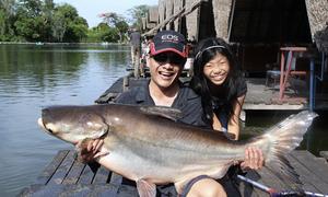 Du khách mỏi tay câu cá khổng lồ tại Thái Lan