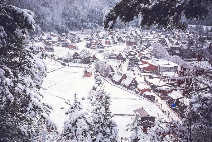 Ngôi làng cổ tích ở Nhật ngập trong tuyết trắng