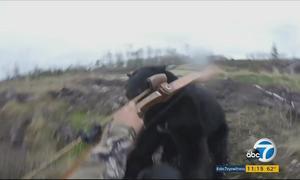 Bất chấp gấu đen rượt đuổi, thợ săn vừa chạy vừa quay phim