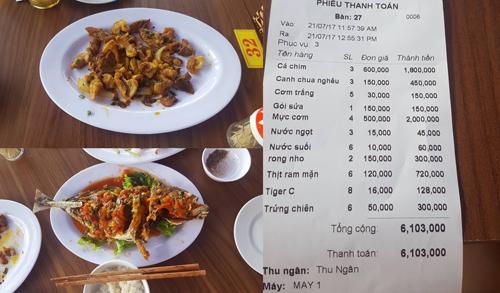 Quán ăn Đà Nẵng bị tố 'chém' khách du lịch hơn 6 triệu cho các món ăn 'lèo tèo'