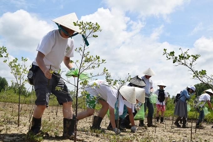 Khách Nhật Bản đội nón, trồng cây ở ngoại thành Sài Gòn