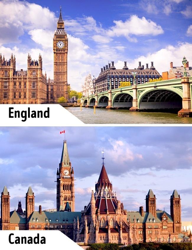 """<p> Một ví dụ khác cho cặp công trình """"sinh đôi"""" là đồng hồ Victoria ở Anh và tháp đồng hồ Hòa Bình ở Canada. Kiến trúc hai tháp đồng hồ tương tự nhau chỉ khác về bối cảnh xung quanh. Ở Canada, tháp Hòa Bình không đi kèm Cung điện Westminter hay cạnh bờ sông Thames.</p>"""