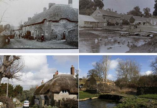 Trong ảnh là Langton Herring ở Dorset (trái) và Upper Slaughter ở Gloucestershire (phải), cả hai ngôi làng đều là những ngôi làng may mắn nhân đôi, khi không có chàng trai nào tham gia thế chiến thứ nhất và thứ hai thiệt mạng. Ảnh trên là chụp hai ngôi làng vào những năm 1900 và ảnh dưới là vào năm 2014. Ảnh: Reuters.