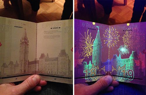 CanadaNhiều hình ảnh biểu tượngcủa Canada đều có thể nhìn thấytrên từng trang của cuốn hộ chiếu nước này khi đặt dưới đèn UV. Đó là những chiếc lá phong, các công trình lịch sử, các màn pháo hoa rực rỡ hay thác nước hùng vỹ Niagara. Ảnh: worldation.