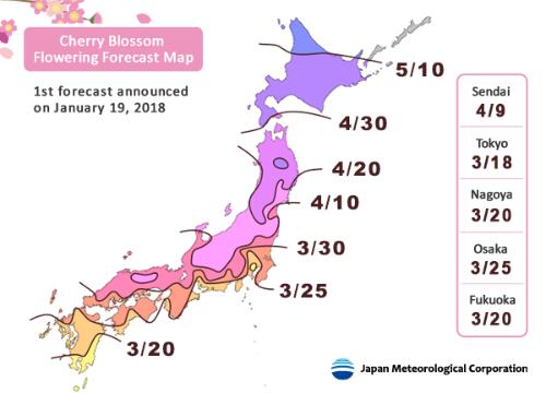 Bản đồ dự báo mùa hoa anh đào năm 2018 tại Nhật Bản. Ảnh:JRailpass.