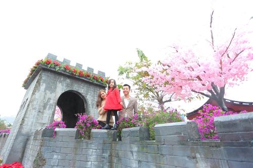 Những bồn trạng nguyên, những chậu hoa giấy được bài trí dọc theo Vạn Lý Trường Thành - biểu tượng của Trung Quốc.