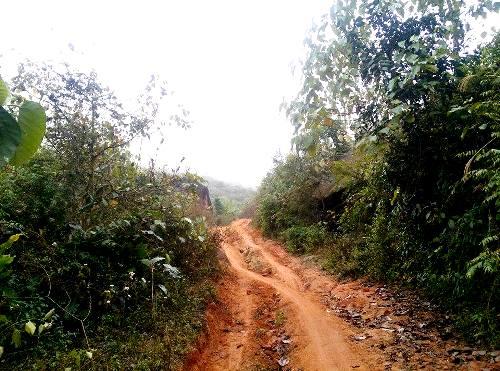 Đoạn đường đến được đồn biên phòng Pha Luông rất dễ trơn trượt nếu đi vào ngày mưa. Ảnh: Nguyễn Đắc Hòa.
