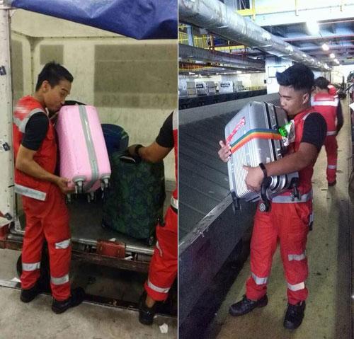 Hình ảnh các nhân viên của một hãng hàng không ôm hôn từng chiếc vali của hành khách đã nhận được hơn 8.000 lượt chia sẻ trên facebook. Ảnh: Gengjoyah.