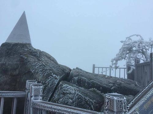 Hiện tượng băng giá xuất hiện trên đỉnh Fansipan, Sa Pa, Lào Cai từ đêm qua và kéo dài đến sáng nay. Cây cỏ và nhiều công trình ở độ cao hơn 3.000 m sáng 7/4 vẫn bao phủ bởi lớp băng giá trong suốt.