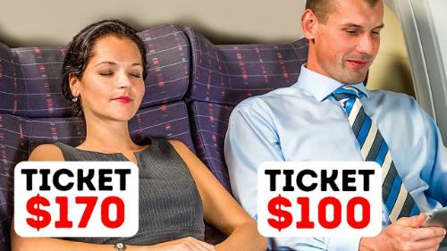 Dù ngồi cùng hàng ghế, một người mua vé giá 170 USD trong khi người còn lại chỉ phải bỏ ra 100 USD - bởi họ đã mua vé vào những thời điểm khác nhau. Ảnh:YouTube.