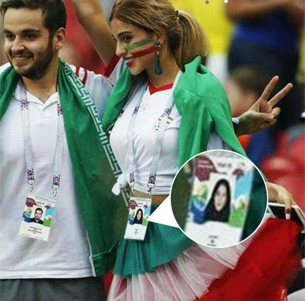 Nhiều người tỏ ra thích thú khi nhìn thấy gương mặt xinh đẹp củaCĐVIran - một trong những quốc gia mà phụ nữ luôn phải đeo khăn trùm đầu. Ảnh:Twitter.