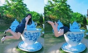 Kết đắng của cô gái tạo dáng với chiếc tách khổng lồ ở Đài Loan