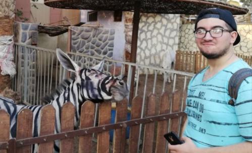 Một con ngựa vằn đứng cạnh Sarhan. Ảnh: