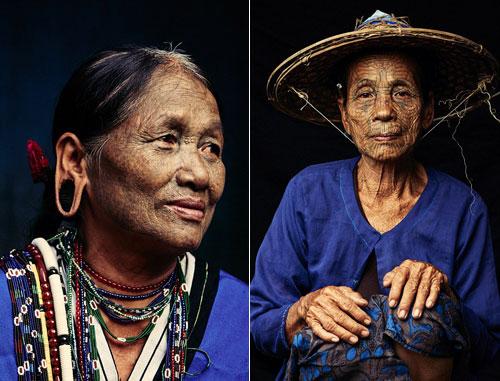 Những người phụ nữ này được gọi là thế hệ cuối cùng của tục xăm mặt ở Myanmar. Ảnh: Media Drum World.