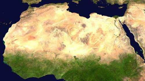 Sa mạc Sahara nhìn từ vệ tinh. Ảnh: NASA.