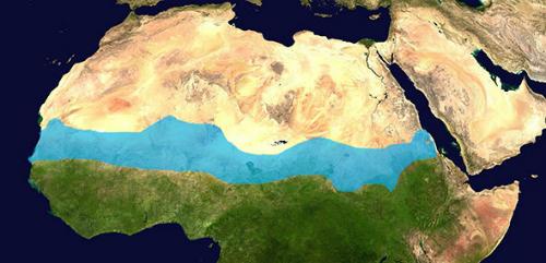Hình ảnh mô phỏng kênh đào nhân tạo sẽ đi qua sa mạc Sahara. Nguồn:Flockedereisbaer.