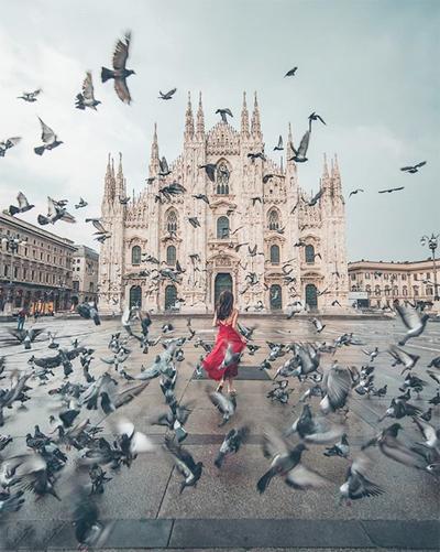 Harimao chụp ảnh ở Milan, Italy. Ảnh: Instagram.