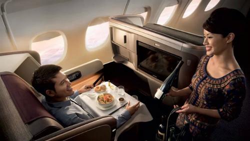 Ghế hạng thương gia trên máy bay A350-900 URL trên máy baySingapore Airlines. Ảnh:Ausbt.
