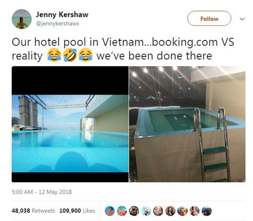 Trên trang cá nhân, Jenny, nữ du khách đến từ Manchester, Anh viết: Bể bơi trong khách sạn của tôi ở Việt Nam. Ảnh trên trang booking.com và ảnh ngoài đời thực. Chúng tôi vừa đến xong. Ảnh: Twitter.