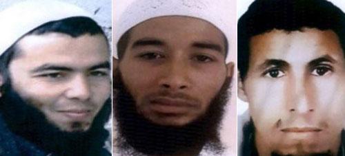 Cảnh sát Rabat công bố ảnh của 3 nghi phạm trong vụ giết người. Ảnh: Sun.