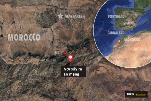 Địa điểm nơi hai nữ du khách châu Âu bị sát hại. Ảnh: Sun.