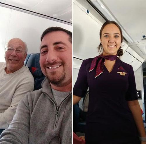 Mike (phải) chụp ảnh cùng hành khách Hal, ông bố bay quanh nước Mỹ để đón Giáng sinh cùng cô con gái Pierce Vaughan. Ảnh: Fox.
