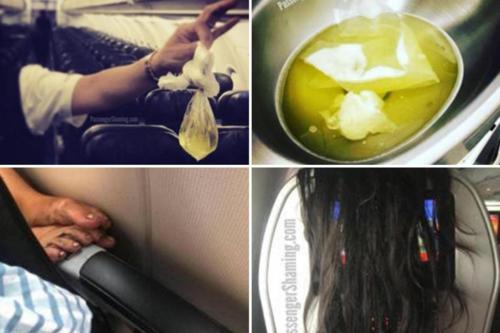 Gác chân bẩn và có mùi lên thành ghế của người khác, đi tiểu vào bồn rửa tay trong nhà vệ sinh là những điều mà nhiều hành khách sợ gặp phải khi đi máy bay. Ảnh: Sun.