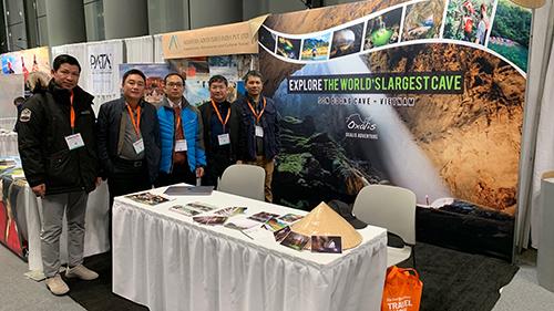 Gian hàng tỉnh Quảng Bình tại Hội chợ du lịch New York Times Travel. Ảnh: Sở Du lịch Quảng Bình