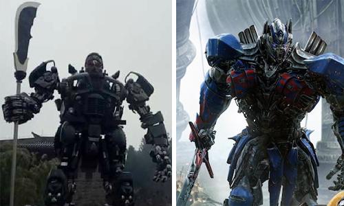 Tượng Quan Công và nhân vật robot trong phim Transformers. Ảnh: Film-book.