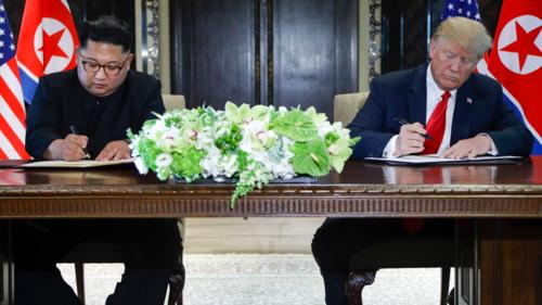 Trên chiếc bàn gỗ tếch 80 tuổi dùng để ký thỏa thuận, khách sạn bày địa lan, tulip và mõm rồng - những loài hoa đặc trưng của Singapore. Ảnh: Nikkei Asian Review.