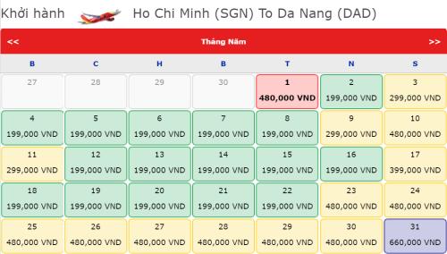 Bảng giá vé máy bay giá rẻ tháng 5.