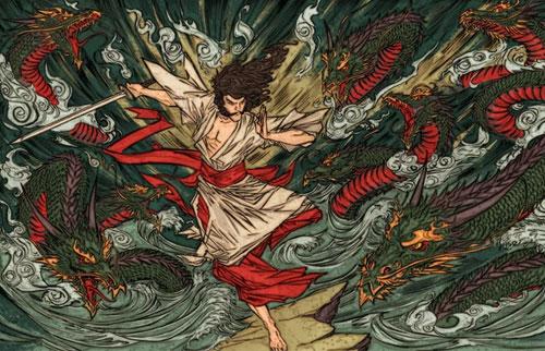 Bức họa tái hiện cảnh thần Susano-no-Mikoto chiến đấu với rắn khổng lồ để cứu người dân thoát khỏi cảnh khốn khổ. Ảnh: Yakuza-mob-roleplay.