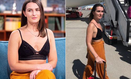 Emily mặc lại bộ đồ cô đã mặc trên chuyến bay và bị phi hành đoàn yêu cầu mặc thêm áo khoác khi lên sóng This Morning (ảnh trái) và bộ đồ cô mặc khi lên máy bay (ảnh phải). Ảnh: Sun.