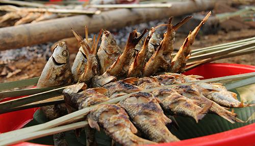 Món cá nướng được đánh bắt thủ công dưới sông Luồng là món ăn được nhiều du khách ưu thích. Ảnh: Lê Hoàng.
