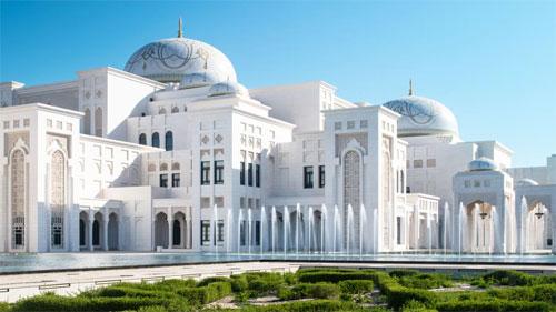 Cung điện Qasr Al Watan mang phong cáchthiết kế Arab truyền thống. Ảnh: CNN.