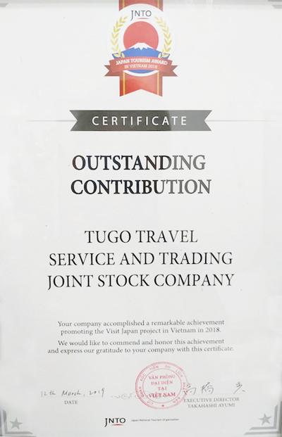 Giải thưởng Outstanding Contribution được trao cho Tugo vì có những hoạt động thiết thực góp phần phát triển du lịch Nhật Bản.