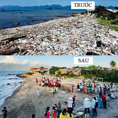Các tình nguyện viên nhặt rác ở bãi biển Vĩnh Lương, Nha Trang. Ảnh: Kim Yến.