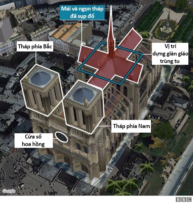 BBC mô phỏng phần bị cháy của Nhà thờ Đức Bà Paris.