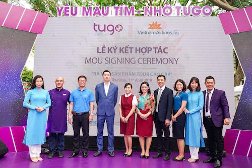 Buổi lễ ký kết giữa Tugo và hãng hàng không Vietnam Airlines.