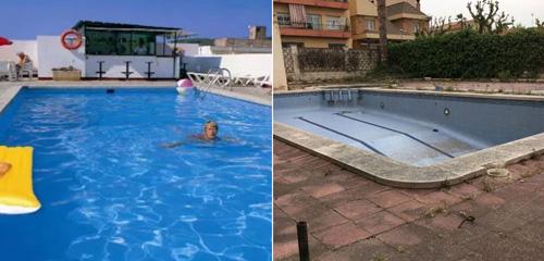 Bể bơi của khách sạn khi quảng cáo trên mạng và ngoài đời thực. Ảnh: Sun.