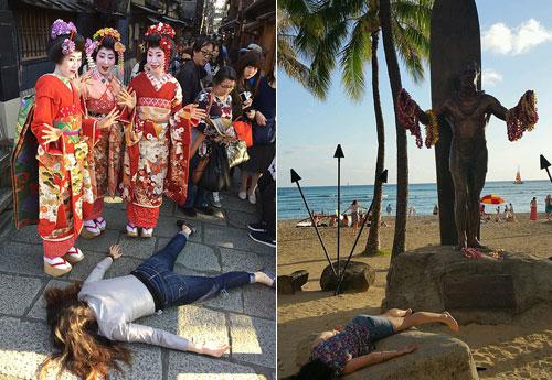 Bức ảnh bên trái được Leigh chụp tại cố đô Kyoto, Nhật Bản, bức bên phải chụp tại Hawaii, Mỹ. Ảnh: Instagram.