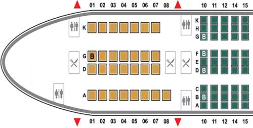 Vị trí nhà vệ sinh và phòng bếp trên phần đầu máy bay Airbus 350. Ảnh: Vietnam Airlines.