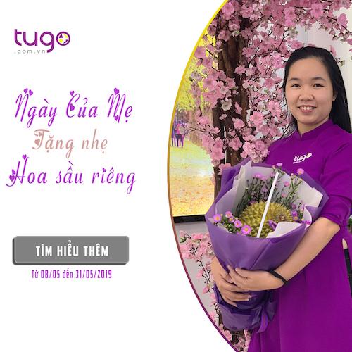 Chương trình tặng hoa sầu riêngcho khách nhân Ngày Của Mẹ. Ảnh: Tugo.