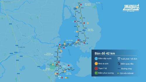 Đường chạy của VM Quy Nhơn 2019 xuất phát từ Tượng đài Nguyễn Tất Thành, trải dài ven biển trên đường Xuân Diệu và lên cầu Thị Nại, đi hướng về Eo Gió và sau đó lại bám sát bờ biển về lại trung tâm thành phố.