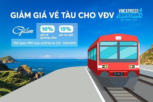 Công ty Cổ phần Đường sắt Hà Nội và Công ty Cổ phần Đường sắt Sài Gòn hỗ trợ giá vé tàu cho vận động viên Giải chạy VnExpress Marathon Quy Nhơn 2019.