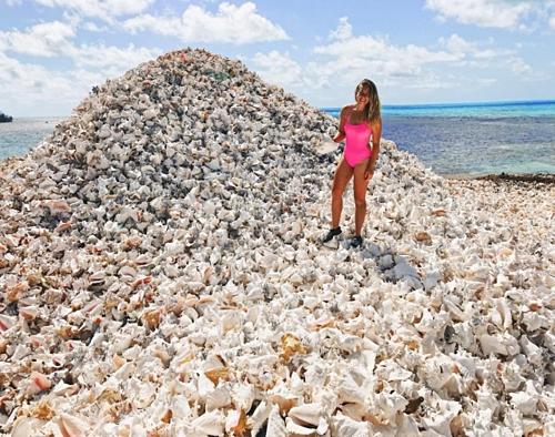 Những mảnh vỏ ốc có thể sẽ cứa rách hoặc đâm thủng chân, du khách cần đi giày chắc chắn để đảm bảo an toàn khi tham quan đảo. Ảnh: Instagram.