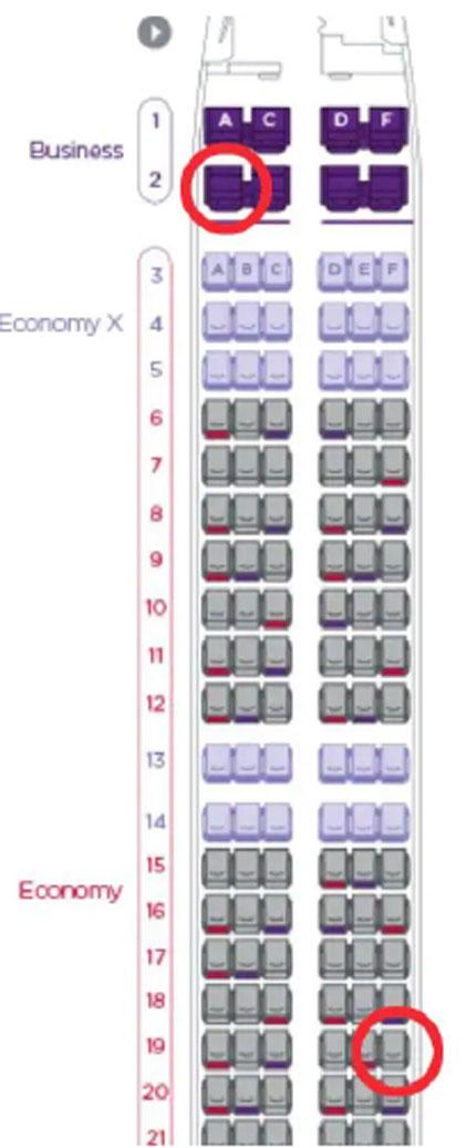 Vị trí 2A và 19F trên máy bay.